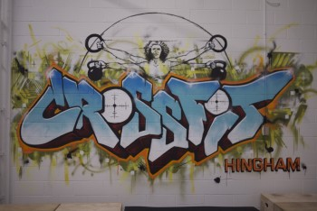 Mural done with Josh Falk for CrossFit gym in Hingham.