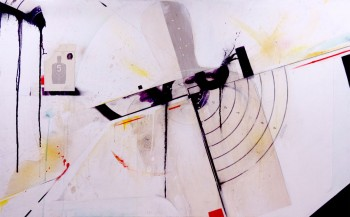 "Found target, ink, coffee, pencil, watercolor and varnish on canvas. 48"" x 24"""